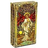 GWQDJ Goldene Art Nouveau Tarot-Deck, 78 Karten Mit Pentagramm-Retro-Tarot-Sets, Destiny Tarot-Karten, Brettspiel Für Erwachsene
